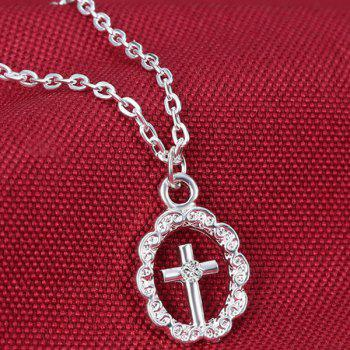 A Suit of Rhinestoned Circle Cross Necklace Ring and Earrings - SILVER
