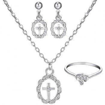 A Suit of Rhinestoned Circle Cross Necklace Ring and Earrings