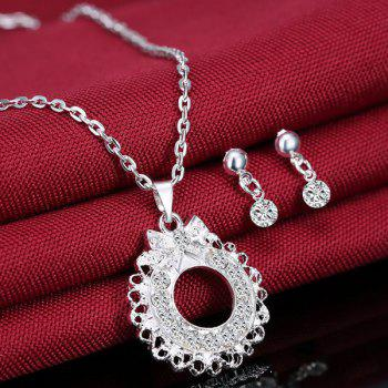 A Suit of Bowknot Rhinestone Circle Necklace and Earrings - SILVER