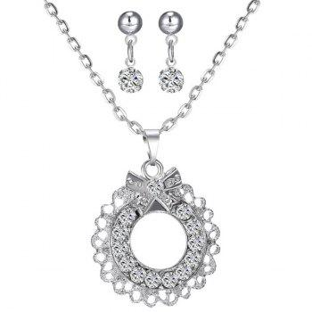 A Suit of Bowknot Rhinestone Circle Necklace and Earrings