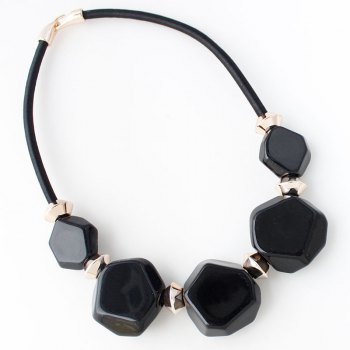 Resin Geometric Gold Plated Alloy Statement Necklace