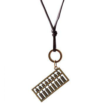 Hollow Out Double Layered Abaci Pendant Necklace