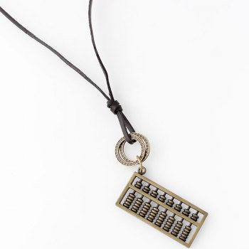 Hollow Out Double Layered Abaci Pendant Necklace - COPPER COLOR