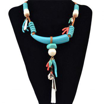 Ethnic Style Faux Wolf Tooth Deerhorn Bead Necklace