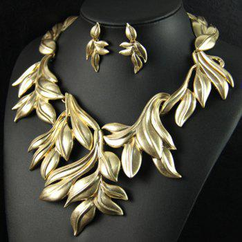 A Suit of Leaf Shape Necklace and Earrings - GOLDEN
