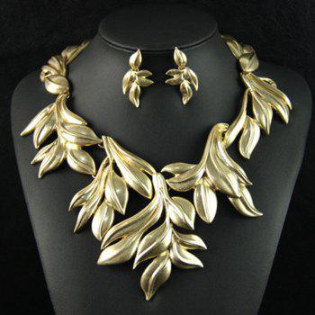 A Suit of Leaf Shape Necklace and Earrings