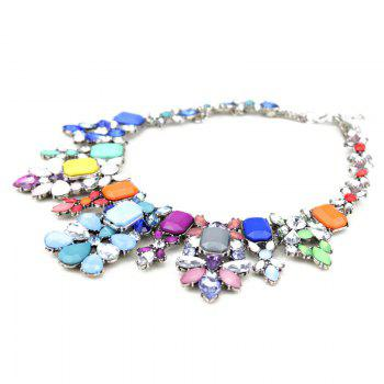 Faux Crystal Water Drop Necklace - COLORMIX