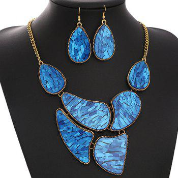 A Suit of Water Drop Embellished Necklace and Earrings