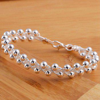 Layered Beads Woven Bracelet - SILVER
