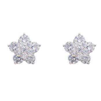 Pair of Floral Rhinestone Embellished Earrings
