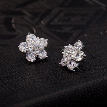 Pair of Floral Rhinestone Embellished Earrings - SILVER