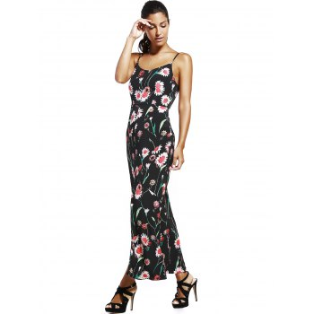 Fashionable Spaghetti Strap High Slit Floral Print Women's Dress - BLACK M