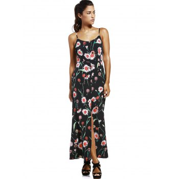 Fashionable Spaghetti Strap High Slit Floral Print Women's Dress - BLACK S