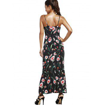 Fashionable Spaghetti Strap High Slit Floral Print Women's Dress - S S