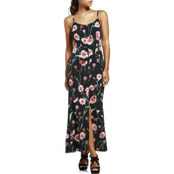 Fashionable Spaghetti Strap High Slit Floral Print Women's Dress - BLACK BLACK