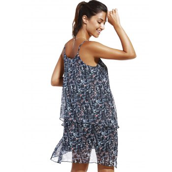 Fashioable Woman's Flower Printing Rippled Edge Spaghetti Strap Drees - M M