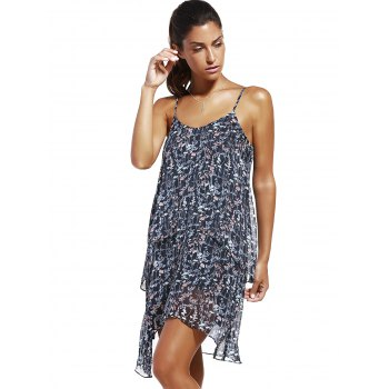 Fashioable Woman's Flower Printing Rippled Edge Spaghetti Strap Drees - COLORMIX S