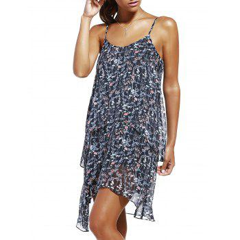 Fashioable Woman's Flower Printing Rippled Edge Spaghetti Strap Drees