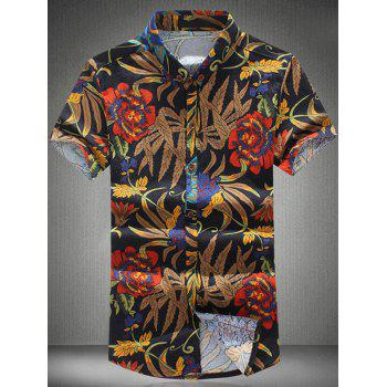 Plus Size Flower Print Turn-down Collar Short Sleeves Men's Shirt