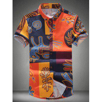 Vogue Shirt Collar Cartoon Pattern Short Sleeves Plus Size Men's Button-Down Shirt