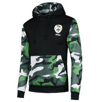 Vogue Hooded Camo Spliced Front Pocket Men's Long Sleeves Hoodie