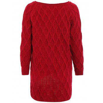 Fashionable Scoop Neck Argyle Asymmetrical Solid Color Long Sleeve Sweater For Women - RED ONE SIZE(FIT SIZE XS TO M)