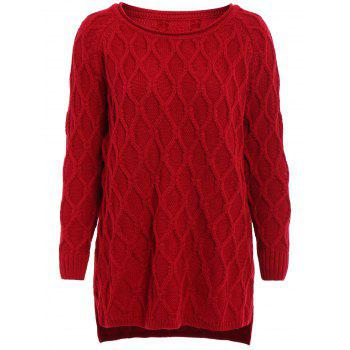 Fashionable Scoop Neck Argyle Asymmetrical Solid Color Long Sleeve Sweater For Women