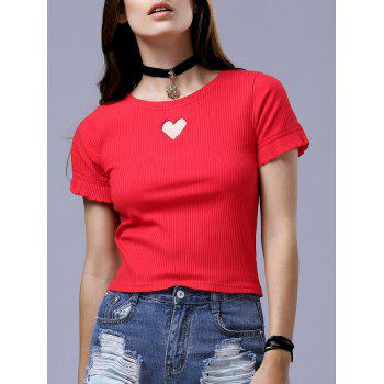 Fashion Round Neck Short Sleeve Slimming Cut Out T-Shirt For Women