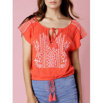 Stylish Short Sleeve Floral Embroidery Cropped Women's T-Shirt