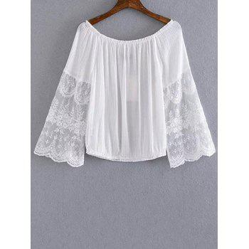 Stylish Scoop Neck Lace Spliced Cropped T-Shirt For Women