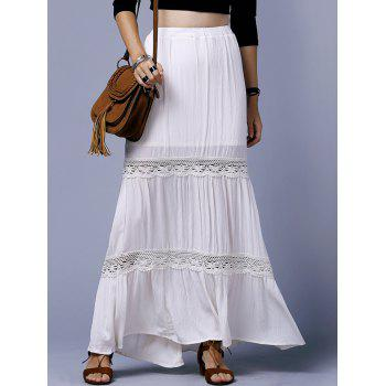 Stylish High Waist Off White Lace Splice Plus Size Women's Skirt