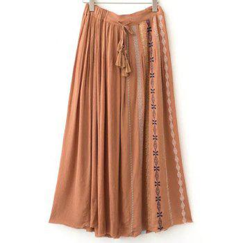 Ethnic Style Embroidery Drawstring Long Skirt For Women