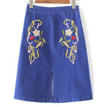 Fashion Floral Embroidery Slit Denim Skirt For Women