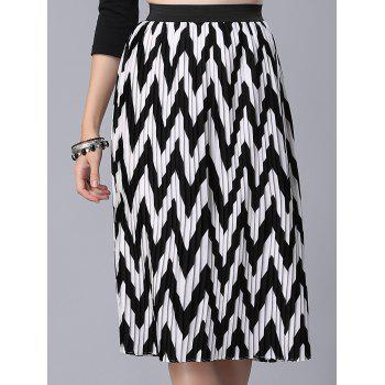 Stylish High Waist Zig Zag Pattern Women's Skirt