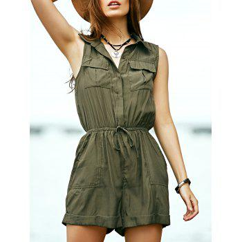 Stylish Turn Down Collar Sleeveless Solid Color Women's Romper
