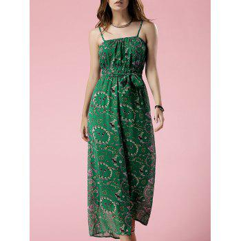 Stylish Cami Green Print Chiffon Women's Jumpsuit