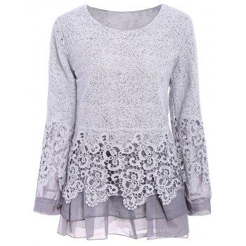 Chic Round Collar Long Sleeve Spliced Lace Women's Blouse