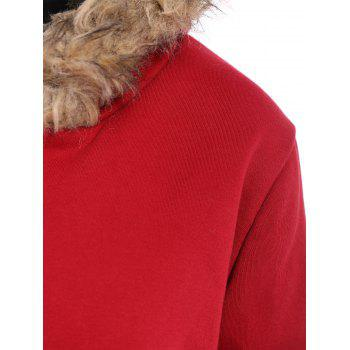Zip Up Faux Fur Trim Hooded Coat - RED M