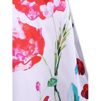 Simple Style Jewel Neck Sleeveless Floral Print Dress For Women - WHITE M