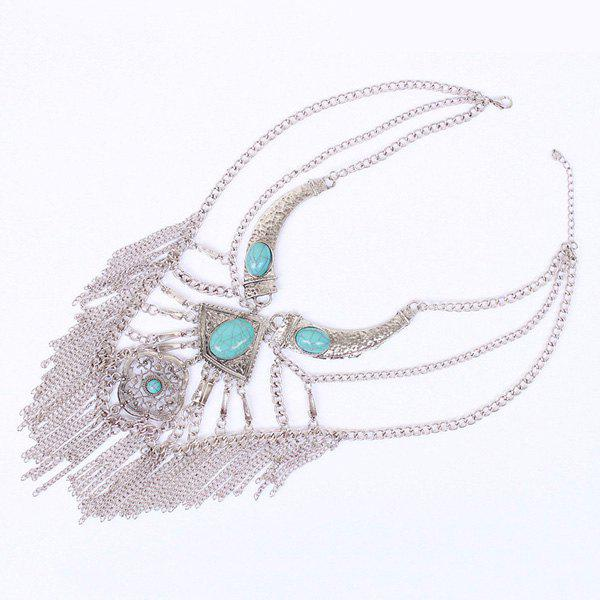Vintage Multilayered Turquoise Tassels Necklace For Women - SILVER