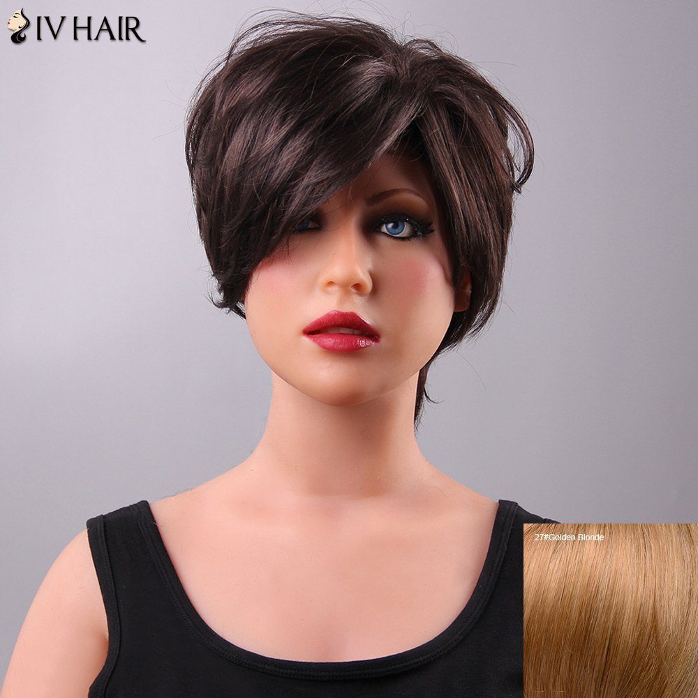 Fluffy Short Siv Hair Side Bang Lace Front Human Hair Wig For Women - GOLDEN BLONDE
