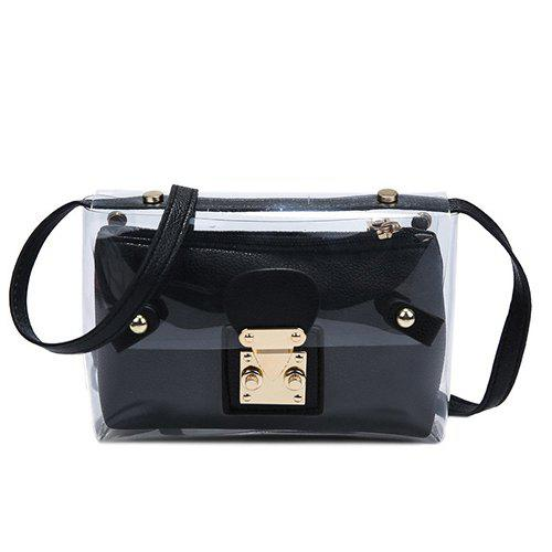 Stylish Transparent and Hasp Design Women's Crossbody Bag - BLACK