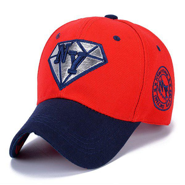Stylish Letter Embroidery and Diamond Shape Embellished Sun-Proof Baseball Cap - RED