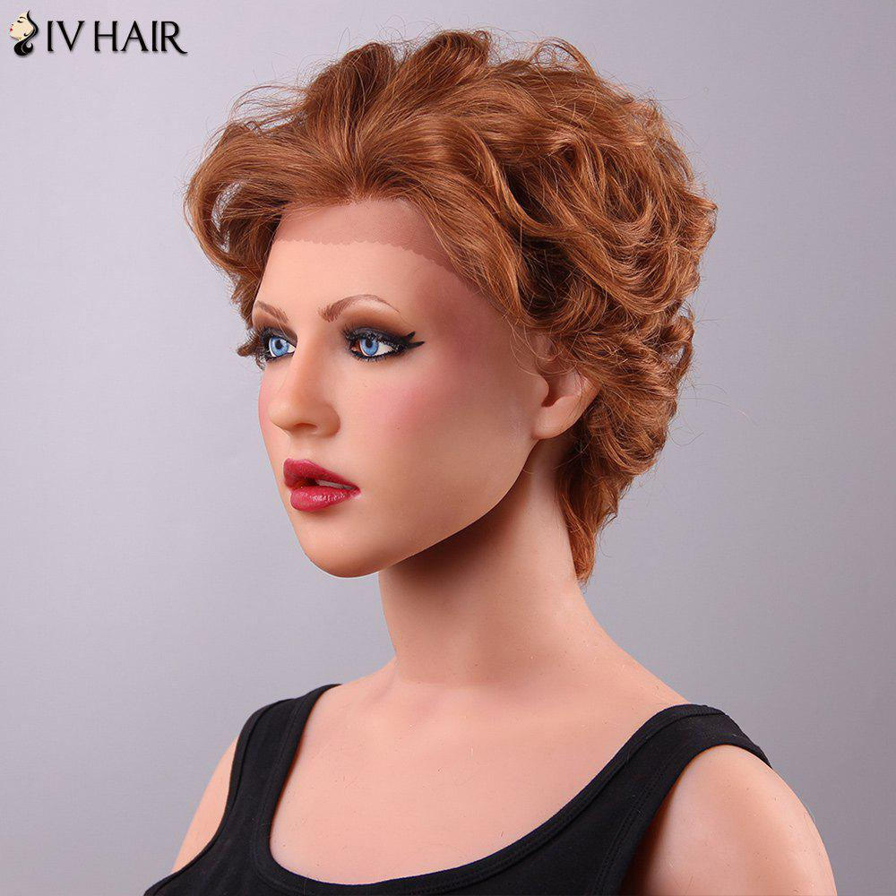 Fluffy Siv Hair Curly Short Lace Front Human Hair Wig For Women - AUBURN BROWN