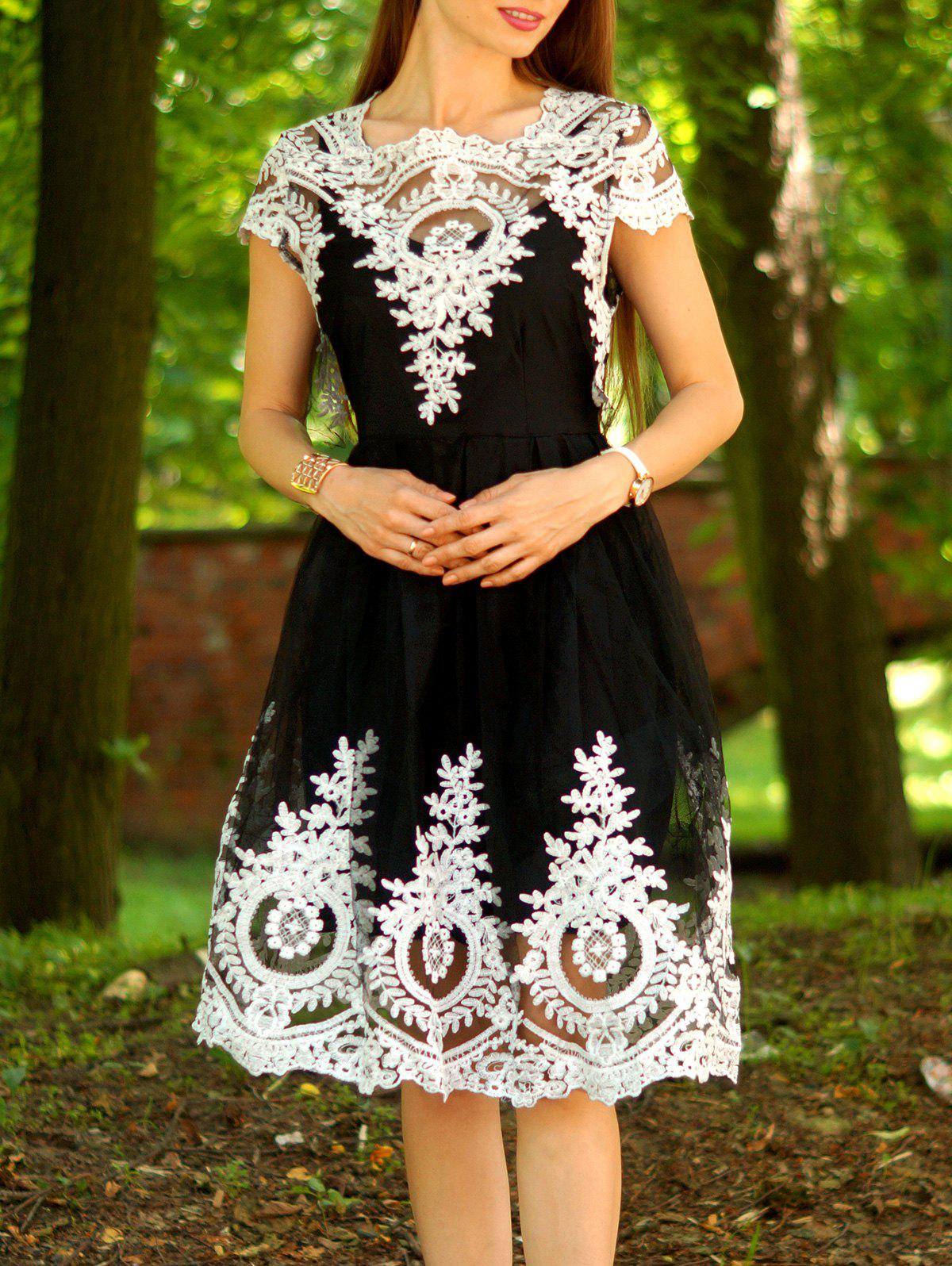 Vintage Lace Square Neck Short Sleeve Dress For Women - BLACK XL