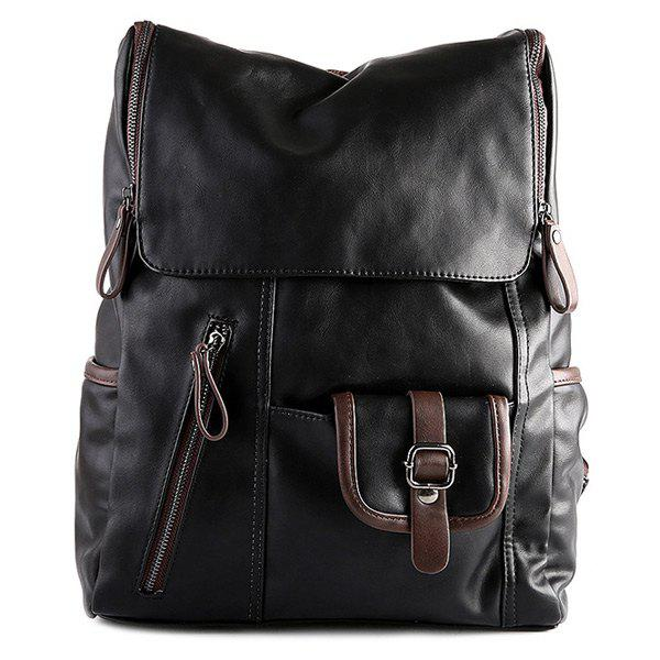 Stylish Zippers and Hit Colour Design Men's Backpack - BLACK