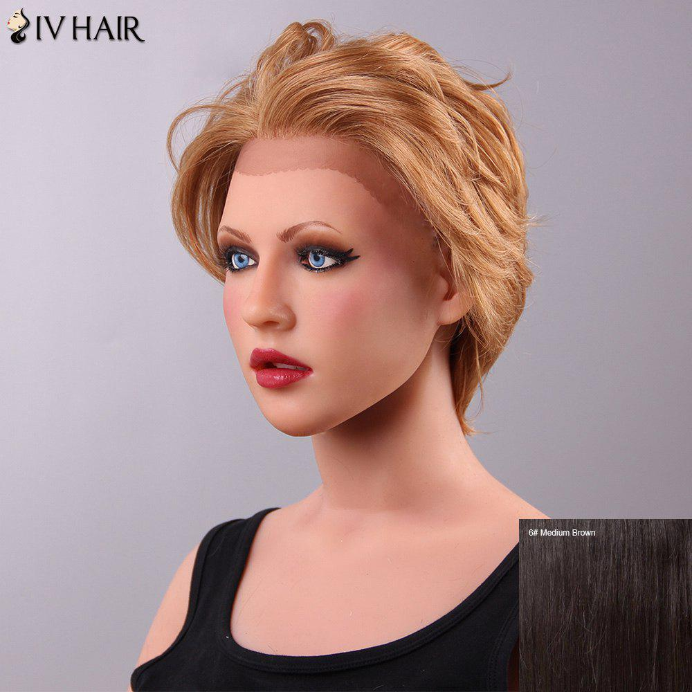 Fluffy Short Siv Hair Women's Lace Front Human Hair Wig - MEDIUM BROWN