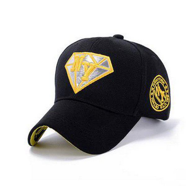 Stylish Letter Embroidery and Diamond Shape Embellished Casual Baseball Cap - BLACK