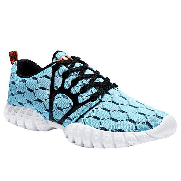 Trendy Breathable and Hit Colour Design Men's Athletic Shoes - CYAN 40