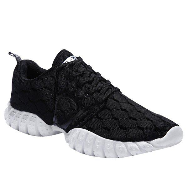 Fashionable Black Colour and Mesh Design Men's Athletic Shoes